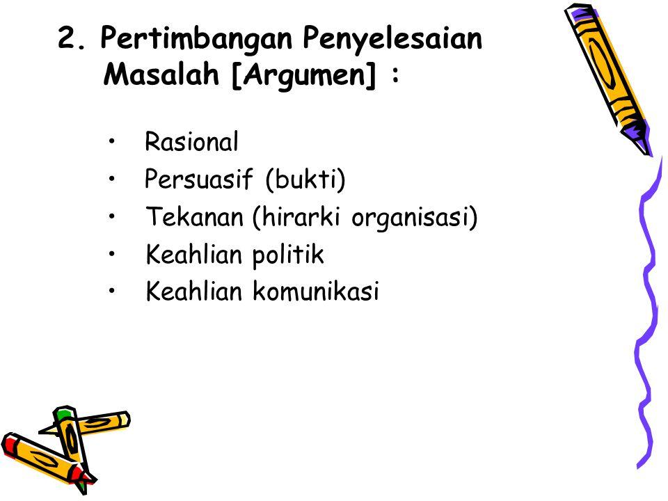 2. Pertimbangan Penyelesaian Masalah [Argumen] :